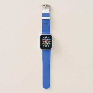 モノグラムのAppleの腕時計の青い革バンド Apple Watchバンド