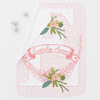 モノグラムのFloral一流の桃色のピンクの花輪のLilの女性 ベビー ブランケット