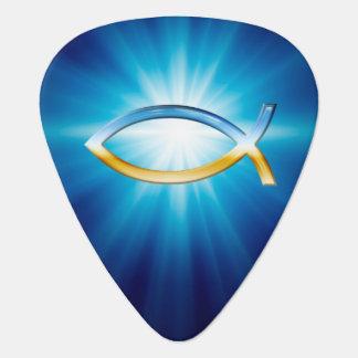 モノグラムのIchthusのキリスト教の記号のギターピック ギターピック