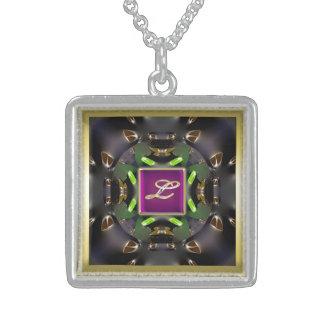 モノグラムのL数々のな純銀製の正方形のネックレス スターリングシルバーネックレス