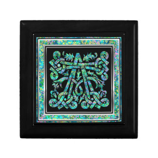 モノグラムのMasselle青く装飾的な箱 ギフトボックス