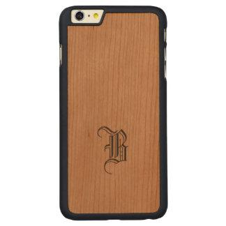 モノグラムのSamsungのiPhoneの細い木製の場合 CarvedチェリーiPhone 6 Plusスリムケース