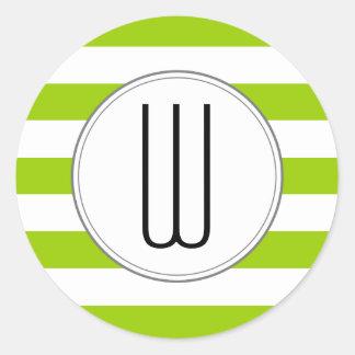 モノグラムはステッカー-緑--を縞で飾ります ラウンドシール