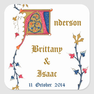 モノグラムは図解入りの、写真付きのな花嫁の新郎日付を示します スクエアシール