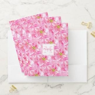 モノグラムを持つピンクの英国のバラ ポケットフォルダー