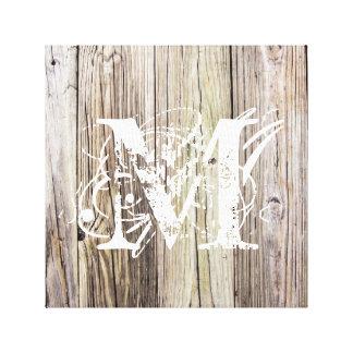 モノグラムを持つ素朴な木製板 キャンバスプリント