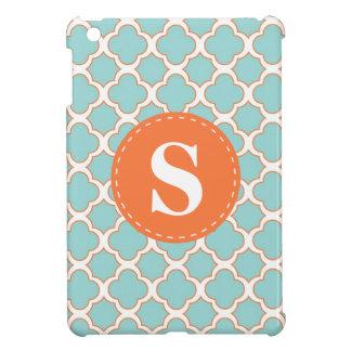 モノグラムを持つQuatrefoilパターンターコイズのオレンジ iPad Mini カバー