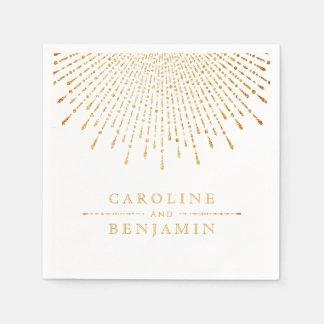 モノグラムを結婚する魅力的な金ゴールドのグリッターのdecoのヴィンテージ スタンダードカクテルナプキン