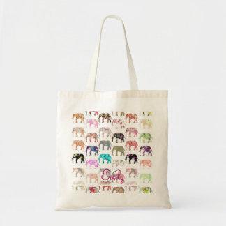モノグラムガーリーなレトロの花象パターン トートバッグ