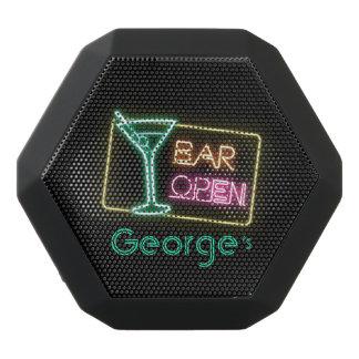 モノグラムシリーズ: アルコール飲料のネオンバーの開いた印 ブラックBluetoothスピーカー