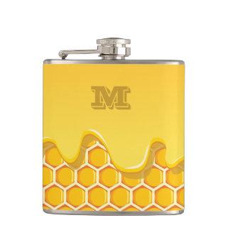 モノグラムシリーズ: 蜂蜜の滴りが付いている蜜蜂の巣 フラスク