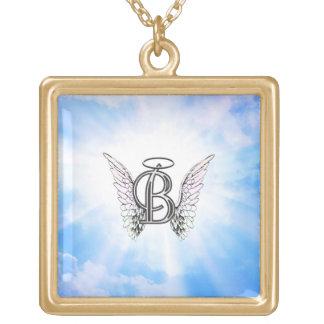モノグラム天使の翼が付いている最初のBのアルファベットの手紙 ゴールドプレートネックレス