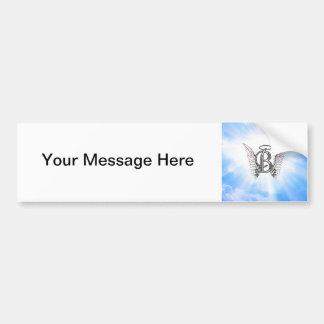 モノグラム天使の翼が付いている最初のBのアルファベットの手紙 バンパーステッカー