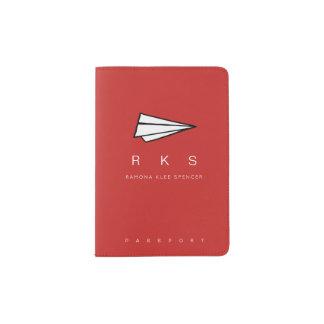 モノグラム旅行赤の紙飛行機 パスポートカバー
