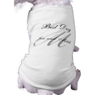モノグラム最も最高のな犬の結婚式のワイシャツの灰色および白 ペット服