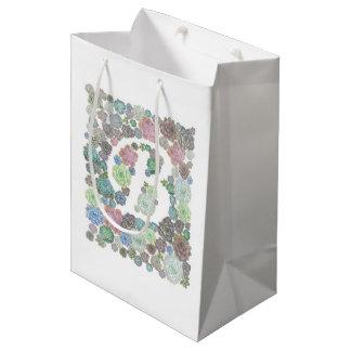 モノグラム最初のBのSucculentsのデザインのgiftbag ミディアムペーパーバッグ