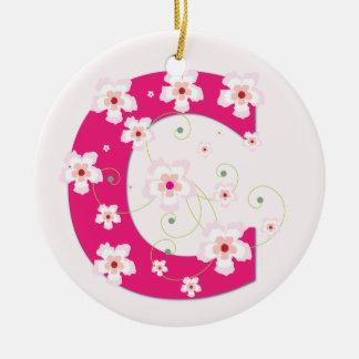モノグラム最初のCのかわいらしいピンクの花模様カット セラミックオーナメント