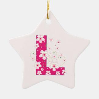 モノグラム最初のLかわいらしいピンクの花模様カット セラミックオーナメント