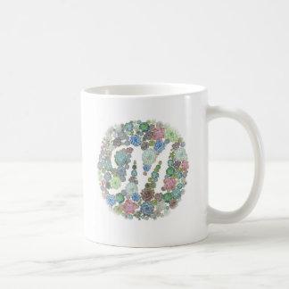 モノグラム最初のMのSucculentsのデザインのマグ コーヒーマグカップ