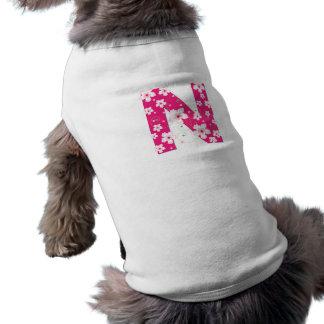 モノグラム最初のNかわいらしいピンクの花犬の衣類 犬用袖なしタンクトップ