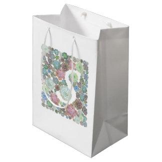 モノグラム最初のSのSucculentsのデザインのgiftbag ミディアムペーパーバッグ