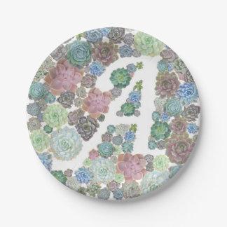 モノグラム最初のsucculentsの紙皿 ペーパープレート