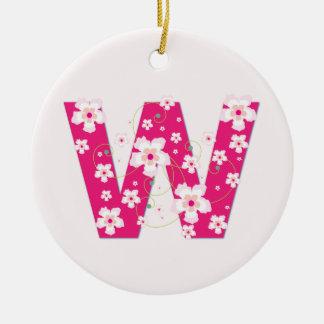 モノグラム最初のWのかわいらしいピンクの花模様カット セラミックオーナメント