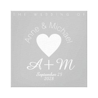 モノグラム灰色愛結婚式の装飾 キャンバスプリント