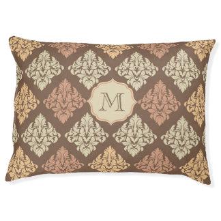 モノグラム犬のベッドのベージュ茶色のダマスク織パターン ペットベッド