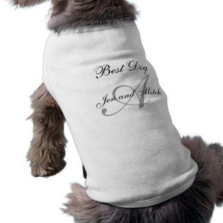 モノグラム犬のワイシャツの灰色および白 ペット服