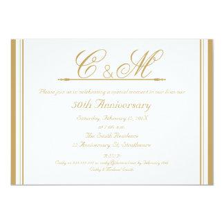 モノグラム第50の結婚記念日の招待状 カード