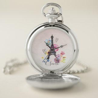 モノグラム。 パリの水彩画のエッフェル塔 ポケットウォッチ