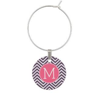 モノグラム-ピンクの紫色が付いているシェブロンガーリーなパターン ワインチャーム