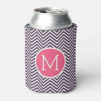 モノグラム-ピンクの紫色が付いているシェブロンガーリーなパターン 缶クーラー