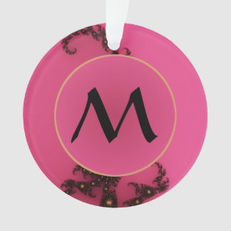 モノグラム-ピンクの金ゴールドの黒が付いている蠍座の尾 オーナメント