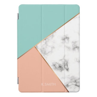 モノグラム。 モダンで白い大理石色のブロック iPad PROカバー