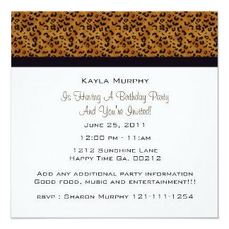 モノグラム: 写真: ヒョウのプリントの招待状 カード