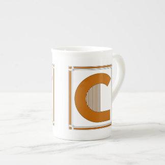 モノグラム、手紙Cとの直線アール・デコ ボーンチャイナカップ