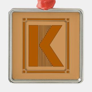 モノグラム、手紙Kとの直線アール・デコ メタルオーナメント