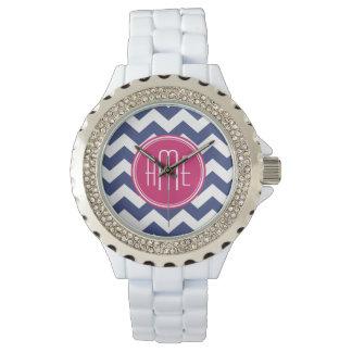 モノグラム-海軍マゼンタが付いているシェブロンパターン 腕時計
