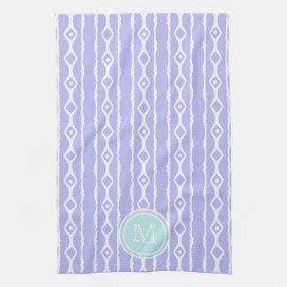モノグラム: 紫色の白はタオルを縞で飾ります キッチンタオル