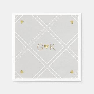 モノグラム/結婚披露宴の幾何学的なライン スタンダードカクテルナプキン