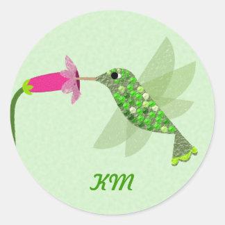 モノグラム-緑のハチドリ ラウンドシール