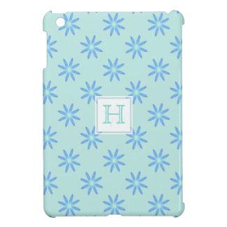 モノグラム: 青デイジー2のiPad Miniケース iPad Mini カバー
