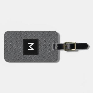 モノグラム、黒および灰色の鋼板の金属 ラゲッジタグ