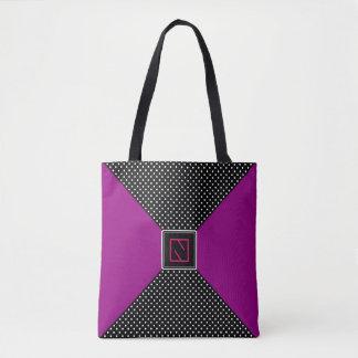 モノグラムB/Wの水玉模様および薄紫 トートバッグ