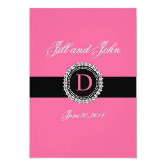 モノグラムDの(紋章の)フラ・ダ・リの結婚式招待状のピンク カード
