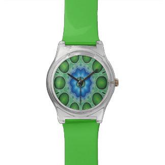 モノグラムJの青緑の曼荼羅の腕時計 腕時計