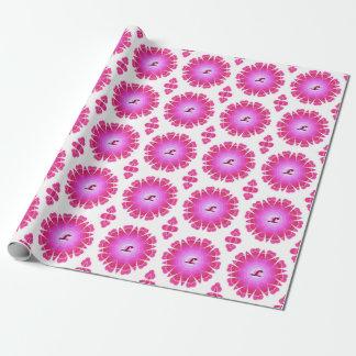 モノグラムLピンクのハートの曼荼羅の包装紙 ラッピングペーパー
