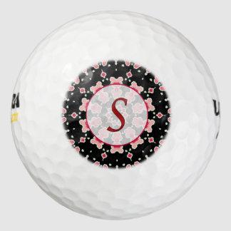 モノグラムSの赤いピンクの黒いゴルフ・ボール ゴルフボール